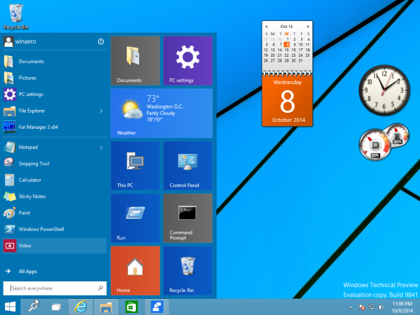 gadgets in Windows 10