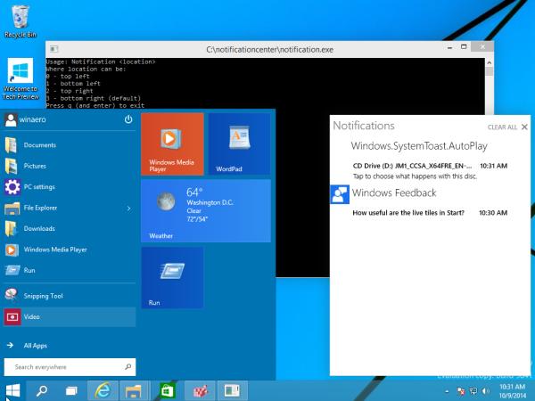 notification center windows 10