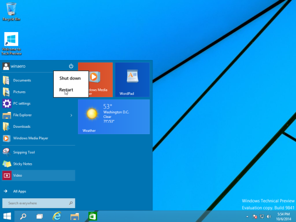 power options menu of the Start menu in Windows 10