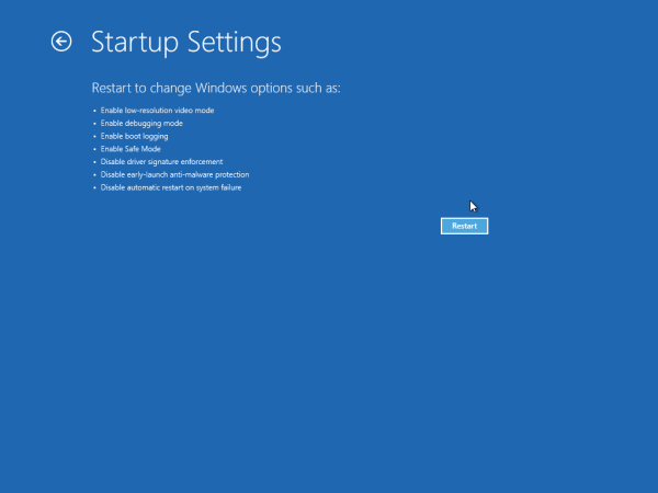 restart with startup settings enabled