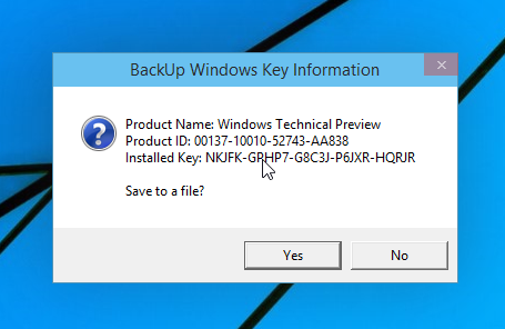 show Windows 10 product key