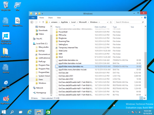 start menu file in Windows 10