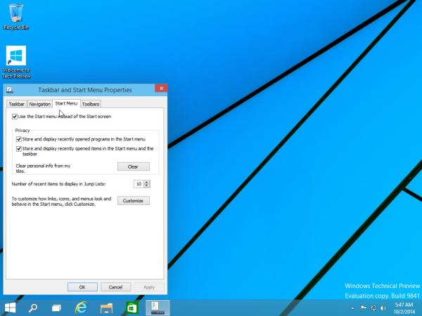 start screen tab