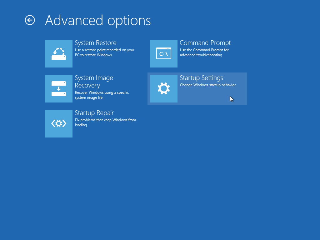 Access Windows 10 Advanced Startup Options quickly