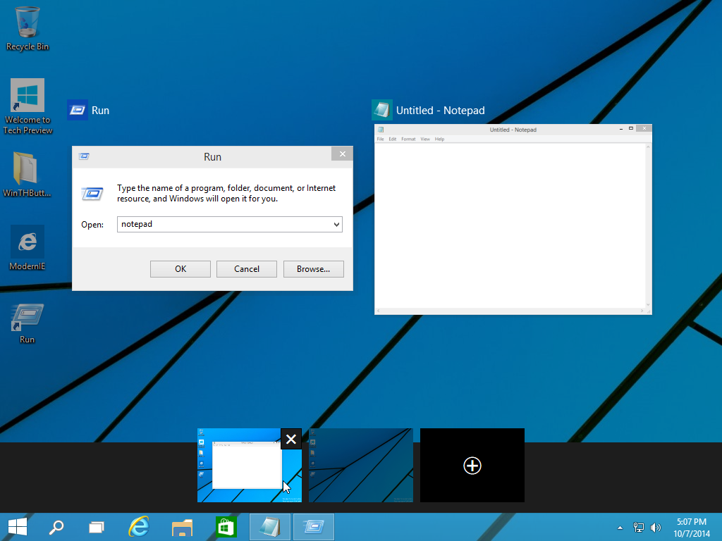 Task View is a virtual desktops feature in Windows 10