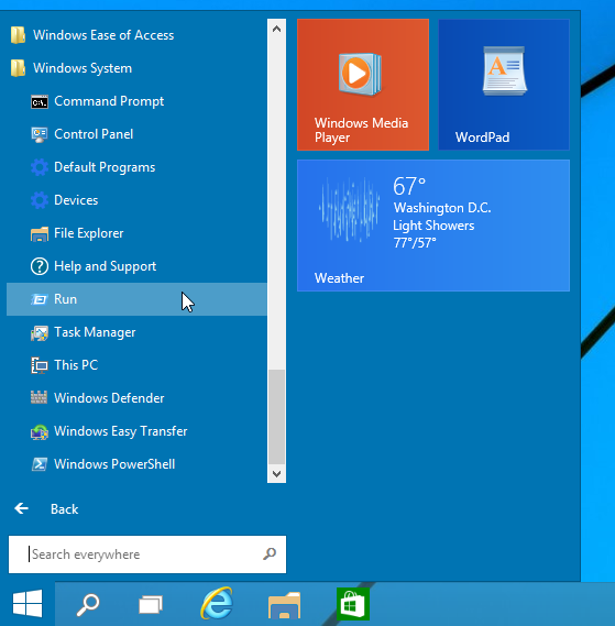 Add Run to Start menu in Windows 10 on the left or right side