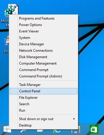 Win+ X menu Windows 10