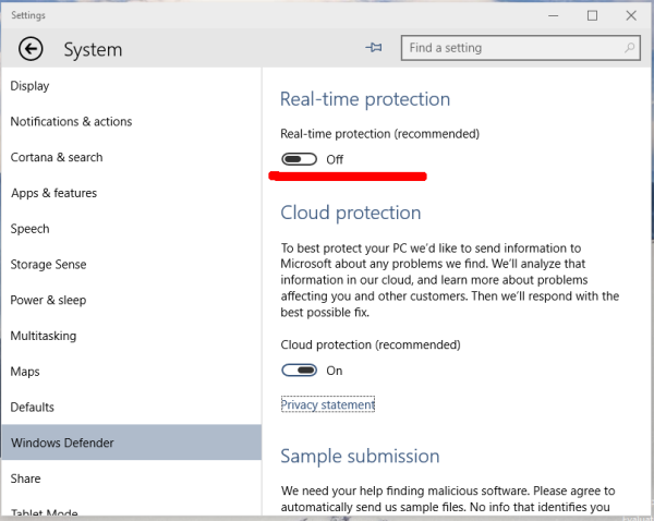 Windows 10 Defender Settings