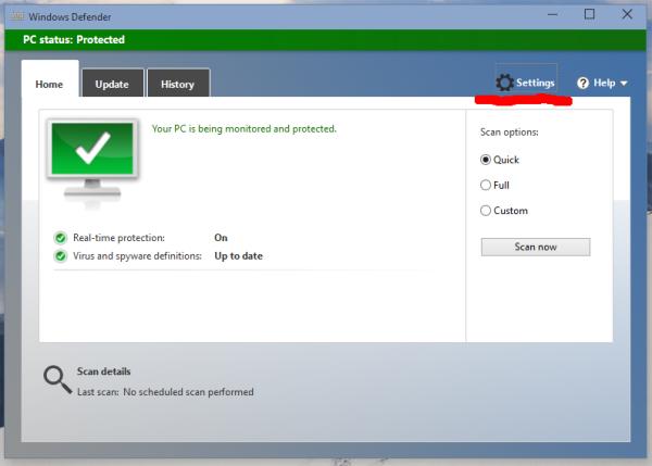 Windows 10 Defender Settings button