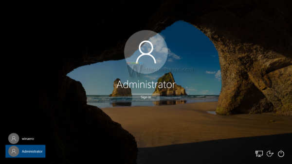 Windows 10 login with administrator