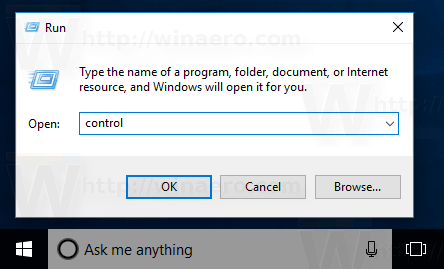 Windows 10 Run Control