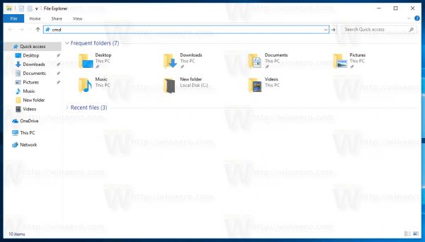 Windows 10 Type Cmd In Explorer Address Bar