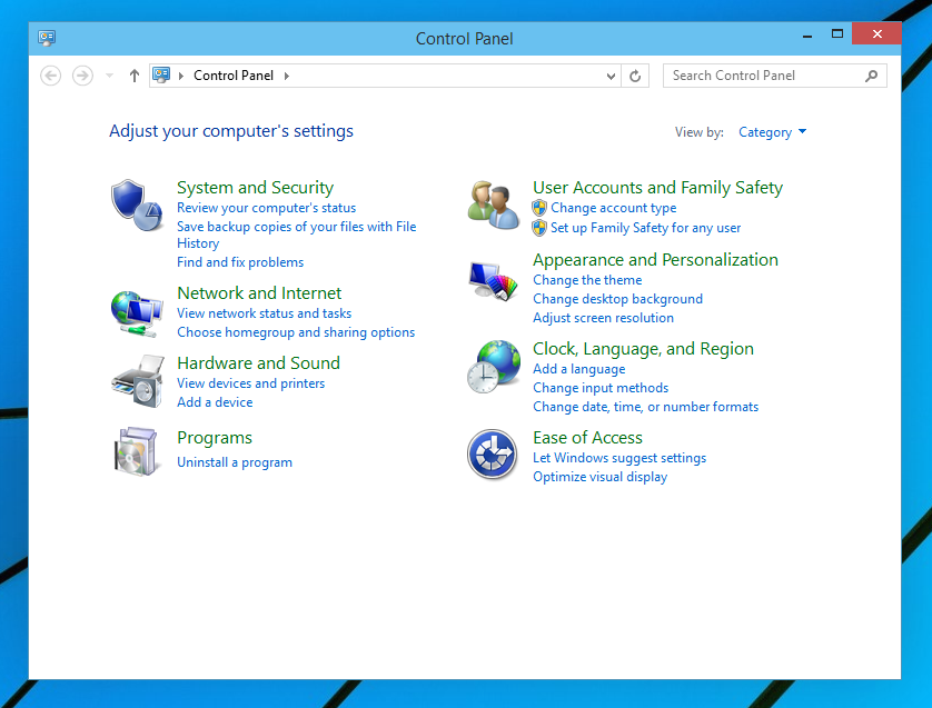 All ways to open Control Panel in Windows 10