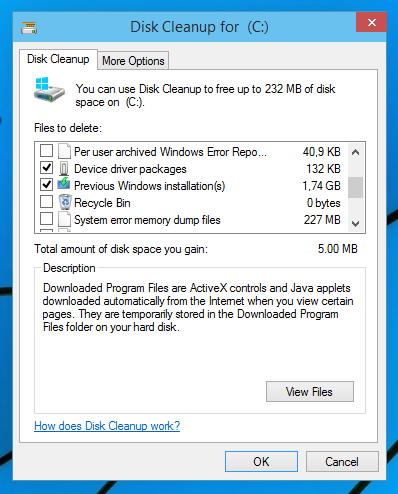 how to clear disk space windows 10