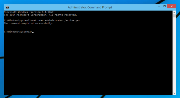 enable administrator in windows 10