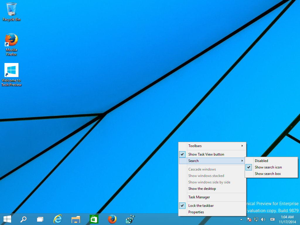 taskbar search icon windows 10