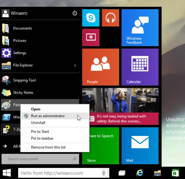 Windows 10 Run as administrator