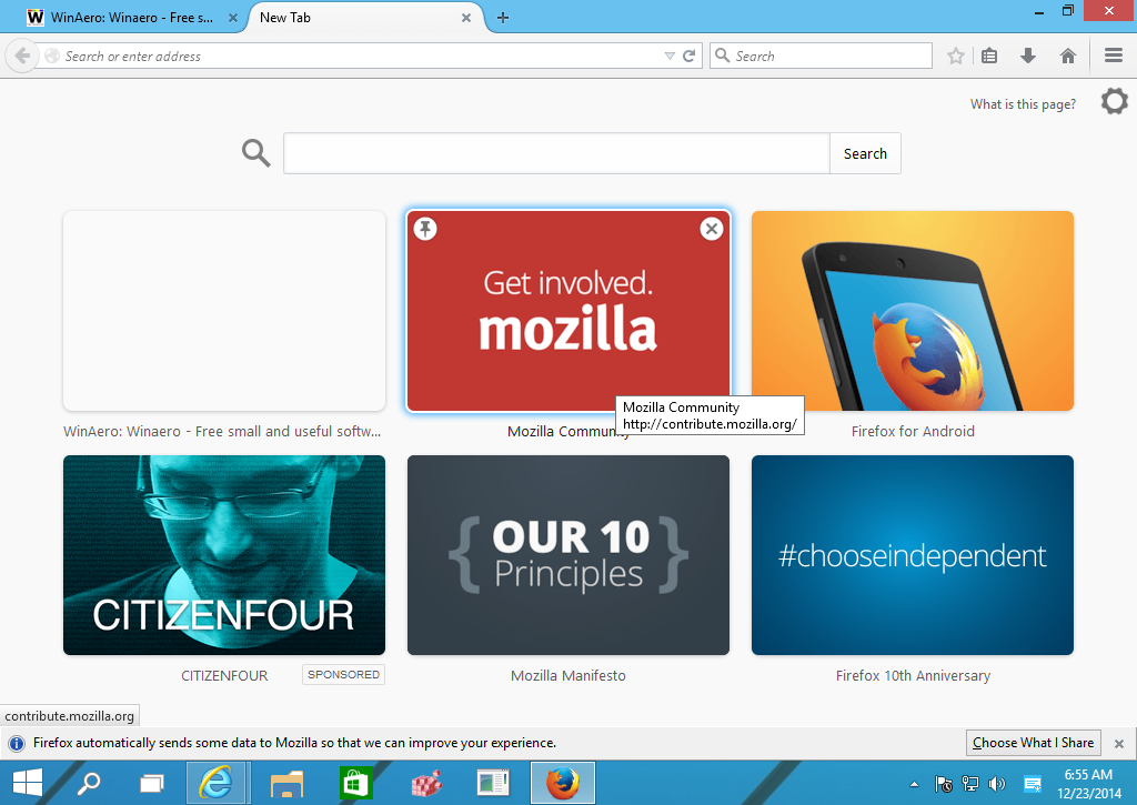 Quickly disable ads on the New Tab page in Mozilla Firefox