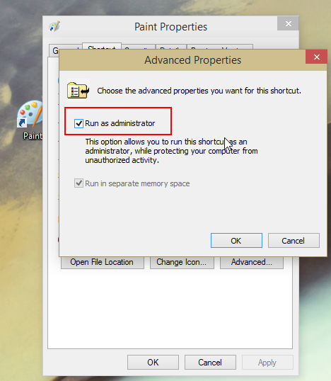 shortcut advanced button run administrator windows 10