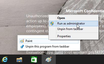 windows 10 jump lists run as administrator