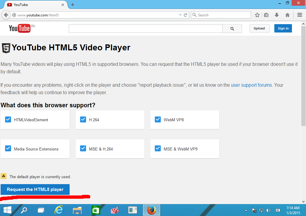 Request the HTML5 Player