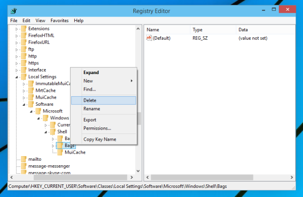Reset all folders view in Windows 10