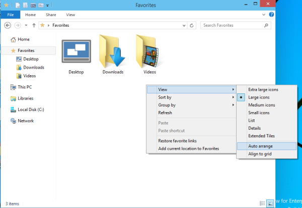 Windows 10 auto arrange explorer