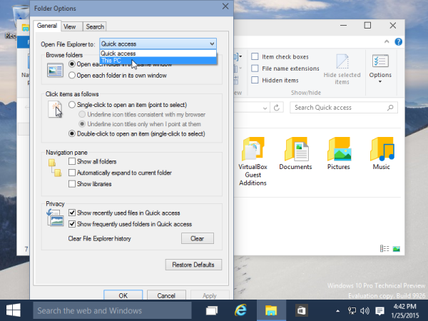 Windows 10 this pc by default vs quick access