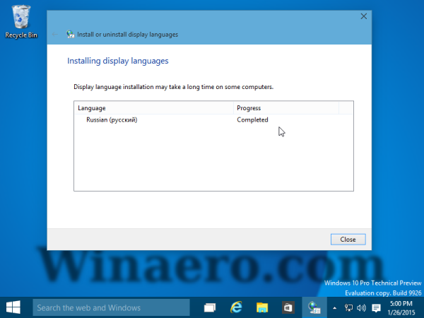 Windows MUI installed