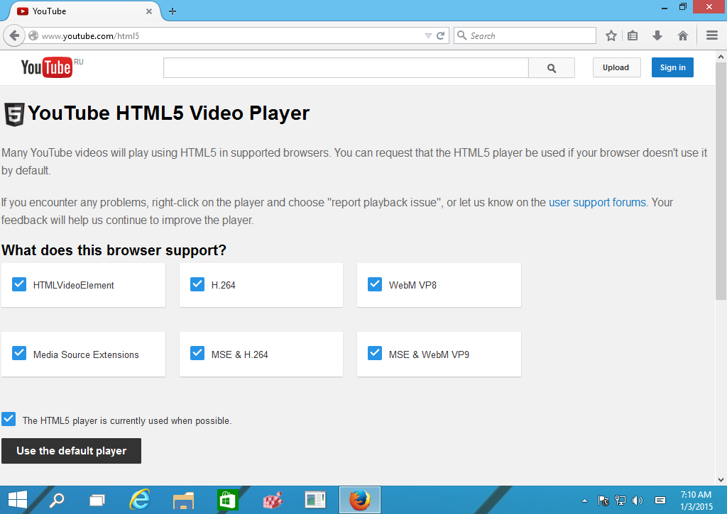 Youtube MSE enabled in Firefox