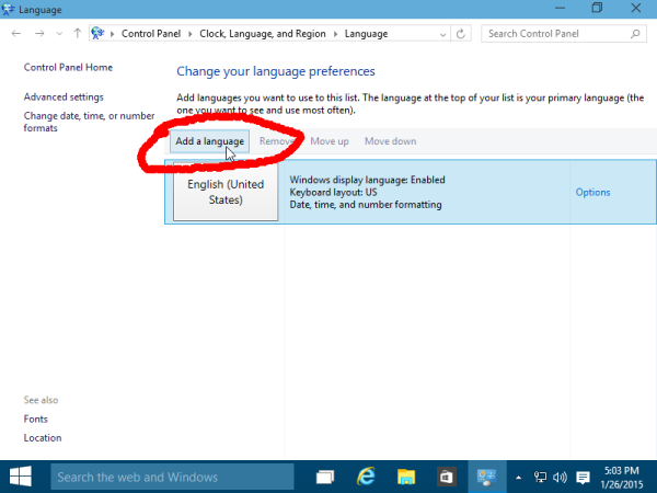 add a language Windows 10