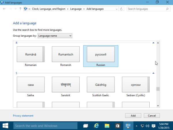 add new language Windows 10
