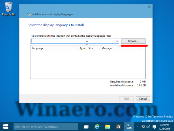browse for language CAB Windows 10