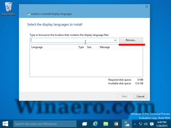 browse for language CAB Windows 10