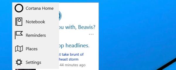 cortana settings in Windows 10