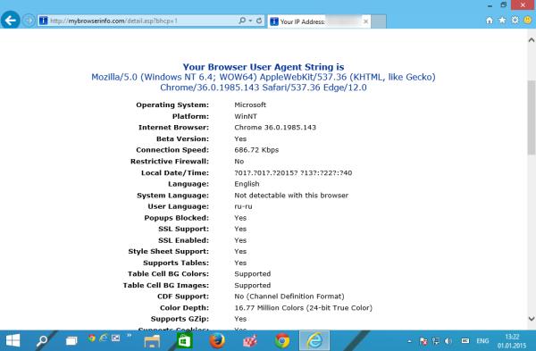 Internet Explorer 12 user agent