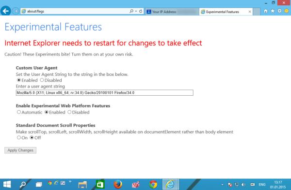 IE12 restart the browser
