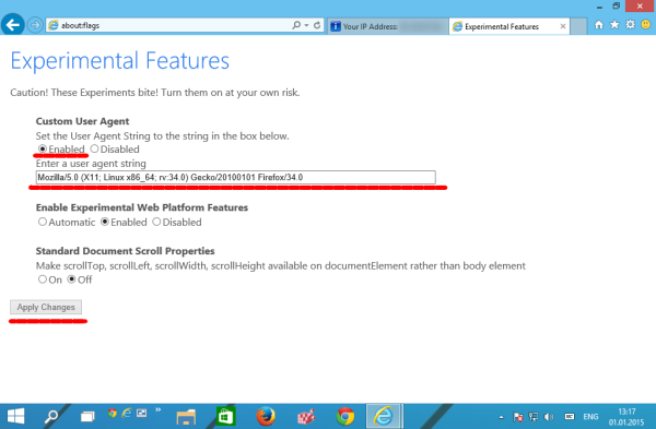 IE12 change user agent