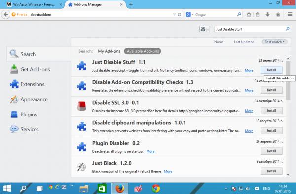 Firefox just disable stuff install