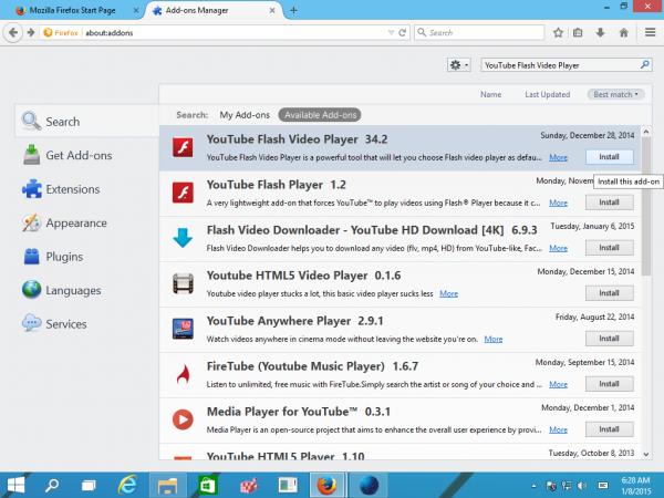 Firefox addon youtube flash video player