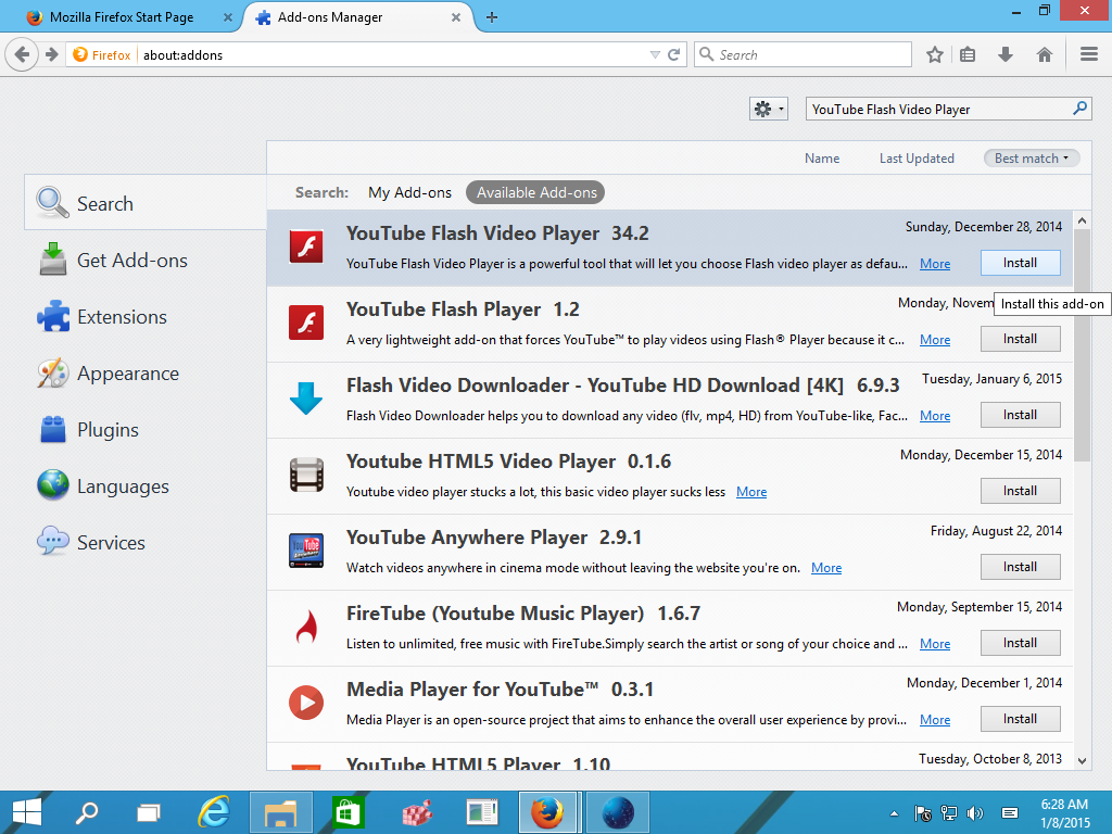 Switch youtube to flash player in firefox How to start flash player