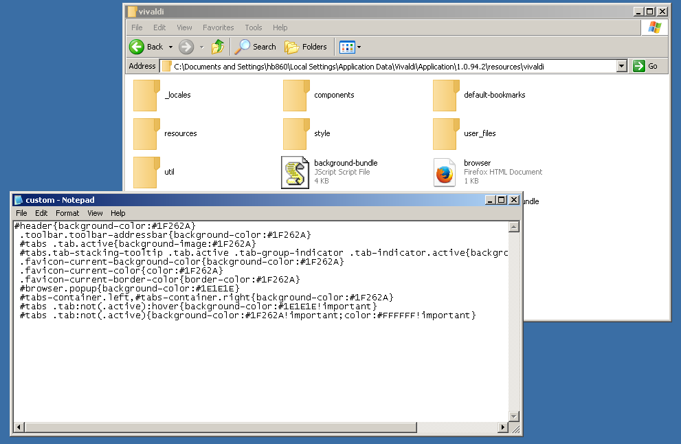 change vivaldi browser default color scheme