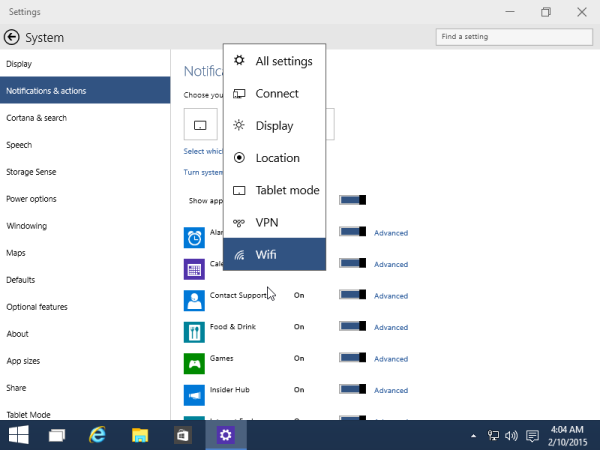 customize quick actions windows 10