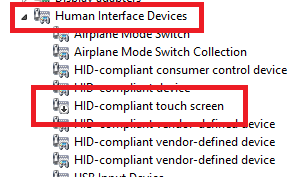 disable touch screen windows 10