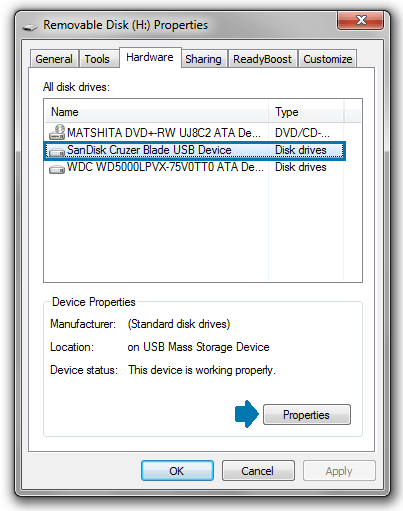 hardware tab