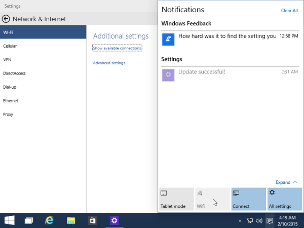 new quick actions windows 10