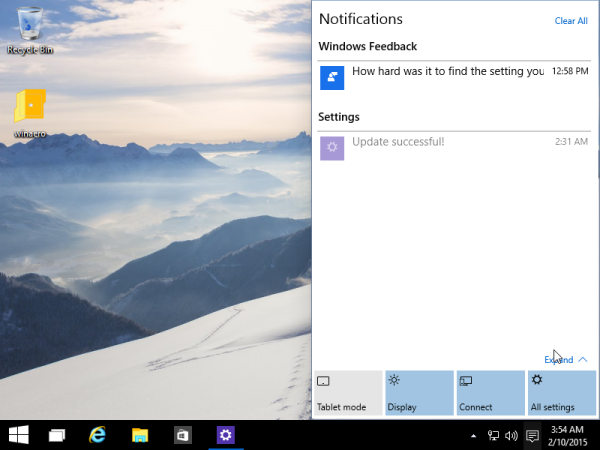 quick actions windows 10