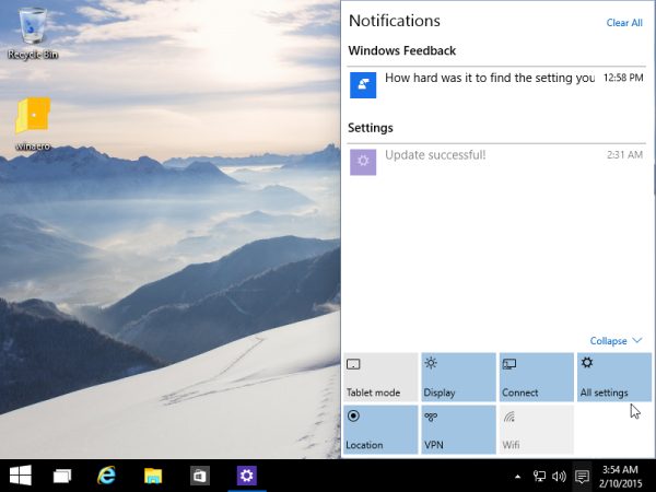 quick actions windows 10 expanded
