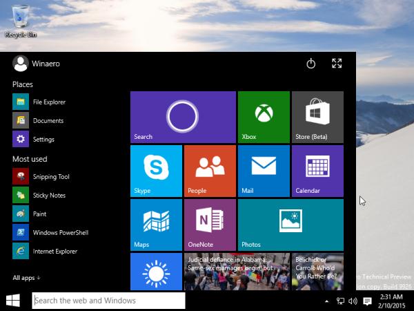 start menu desktop mode windows 10