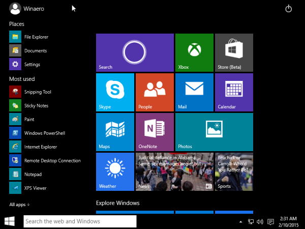 start menu tablet mode windows 10